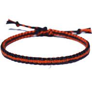 Navy blue and indies orange flat cotton bracelet or anklet