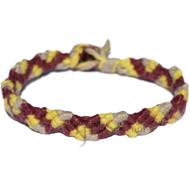 Bordo, lemon and natural hemp Snake bracelet or anklet