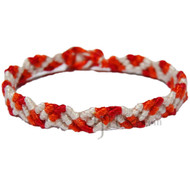 Natural, red   and tangerine cotton Snake bracelet or anklet