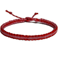 Red and rose pink flat hemp bracelet or anklet