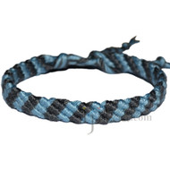 Sky Blue and Grey Bamboo Yarn Diagonal Surfer Bracelet or Anklet