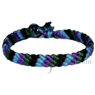 Sky blue, purple, dark green and black bamboo diagonal bracelet