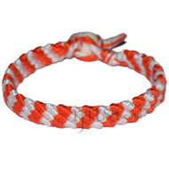 Orange and Snow white bamboo Yarn Diagonal Surfer Bracelet or Anklet