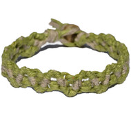 Pistachio and Natural hemp lace bracelet or anklet