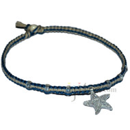 Deep sea and natural flat hemp necklace with clear starfish glass pendant