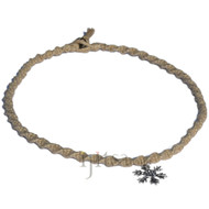 Natural twisted hemp necklace with snowflake charm