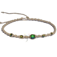 Natural twisted hemp necklace with mood beads