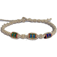 Natural wide twisted hemp necklace with three round tube with tribal design mood beads