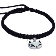 Black Flat Hemp Necklace with Cat face Pewter Pendant