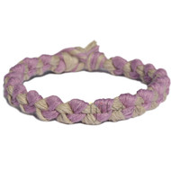 Rose and Natural wide hemp chain bracelet or anklet
