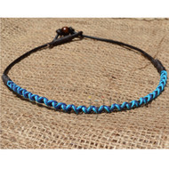 3mm dark brown leather wrapped with turquoise, dark blue and dark brown hemp