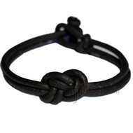 Black matte leather infinity knot bracelet or anklet