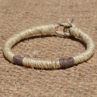 Leather bracelet or anklet wrapped with natural and brown hemp