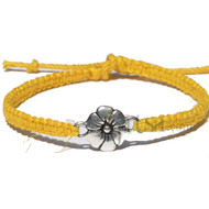 Flat yellow thin hemp twine bracelet or anklet with flower