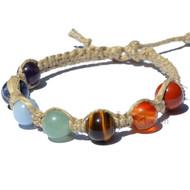 Natural flat hemp twine 7 Chakra bracelet or anklet