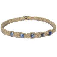Natural thick flat wide hemp necklace with five sodalite gem beads