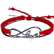 Red flat hemp twine bracelet with infinity love