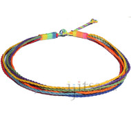 Multistrand rainbow hemp necklace, pride