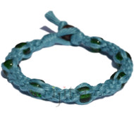Gin hemp round bracelet or anklet with green glass beads throughout