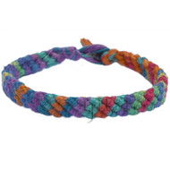 Bright rainbow hemp diagonal bracelet or anklet