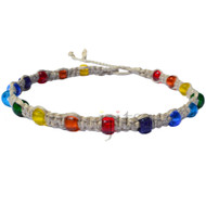 Natural flat hemp necklace with rainbow glass beads, pride