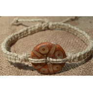 Natural thick wide flat hemp necklace with Tibetan Agate Donut