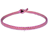 Pink and peach flat cotton bracelet or anklet