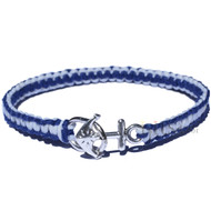 Dark blue and white flat hemp bracelet or anklet with anchor closure