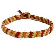 Ruby, lemon and pumpkin hemp diagonal hemp bracelet or anklet