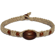 Natural flat thick hemp necklace with dark brown fluted oval wood bead