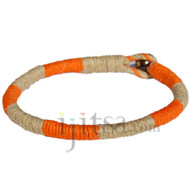Leather Bracelet or anklet wrapped with orange and natural hemp