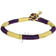 Leather bracelet or anklet wrapped with dark purple and lemon hemp