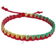 Strawberry and rasta rainbow  hemp thin interlocked bracelet or anklet