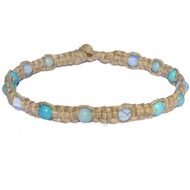 Natural thick flat wide hemp necklace with opaline, amazonite and turquoise howlite gemstone beads throughout