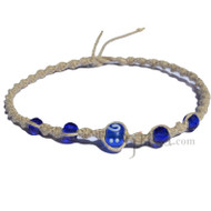Natural twisted hemp necklace with cobalt blue handmade lamp worked bead with crystals