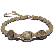 Natural thick twisted hemp necklace with 3 large rustic grey bone beads handmade in Kenya