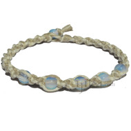 Natural and white twisted wide hemp necklace with five opaline beads