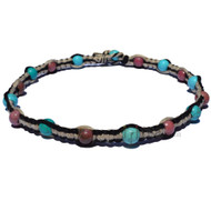 Black and natural wide flat hemp necklace with turquoise howlite and rhodonite gem beads throughout