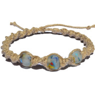 Natural wide twisted hemp necklace with Rainbow speckled recycled glass beads from Africa