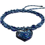 Dark blue and sky blue wide twisted hemp necklace with blue and light blue heart glass pendant