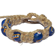 Natural flat thick wide hemp bracelet with Venetian style painted blue recycled glass beads