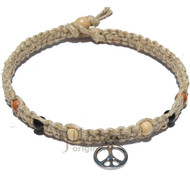 Natural thick wide flat hemp necklace with large silver Peace sign and multicolored wood beads around