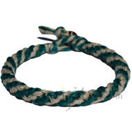 Veridian and natural round hemp bracelet or anklet
