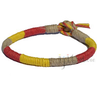 Leather bracelet or anklet wrapped with natural, yellow and red hemp