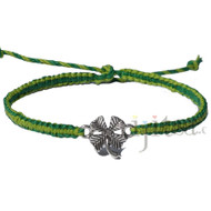 Midori and pistachio flat thin hemp twine bracelet or anklet with lucky clover link