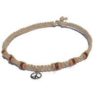 Natural thick flat hemp necklace with small silver Peace sign and multicolored heishi beads around
