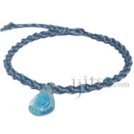 Dark blue and sky blue twisted hemp necklace with clear blue swirl glass teardrop pendant