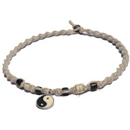 Natural twisted hemp necklace with yin yang charm