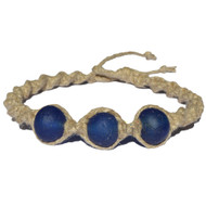 Natural wide thick twisted hemp necklace with three dark blue extra jumbo Krobo African glass beads