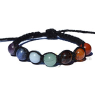 Black flat hemp twine bracelet or anklet with 7 Chakra gem beads